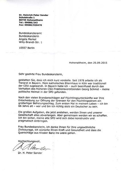 Brief An Die Bundeskanzlerin Dr Angela Merkel Spd Unterbezirk